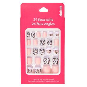 Kids Glittery Pink Leopard Print Press On False Nails