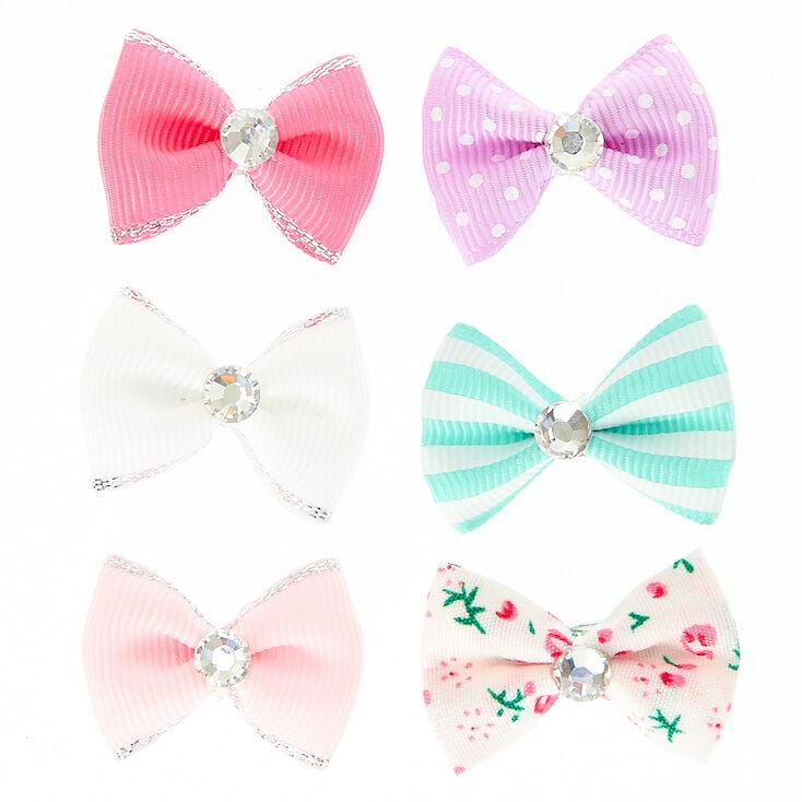 Barrettes mini nœuds pastel Claire'sClub - Lot de 6,