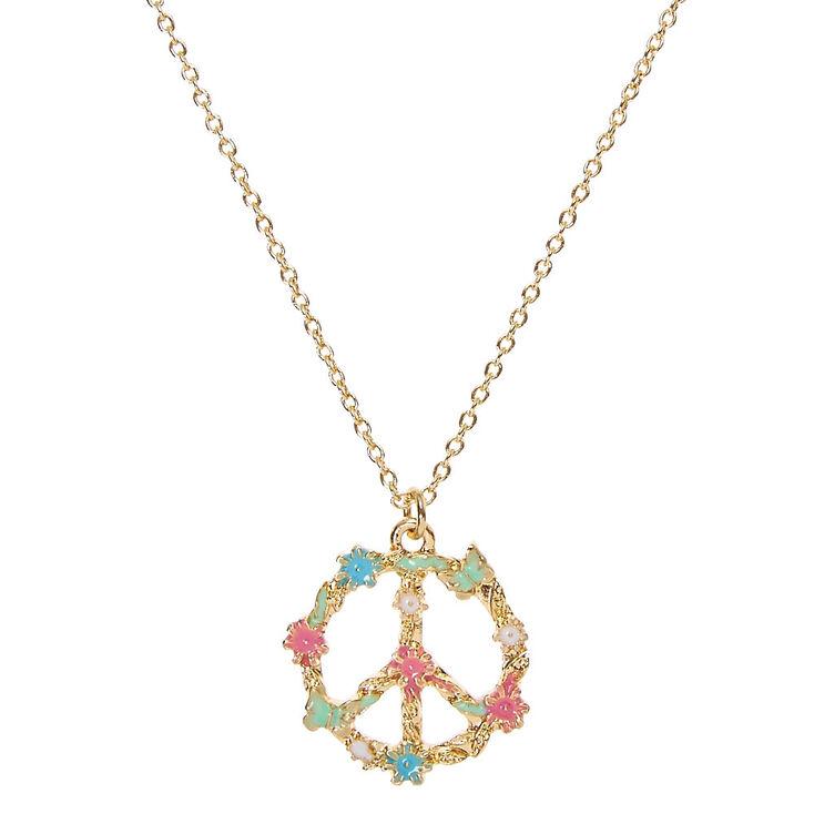 Flower Peace Sign Gold-tone Necklace  cb38df5b7d02