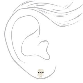 Clous d'oreilles momie couleur argentée,