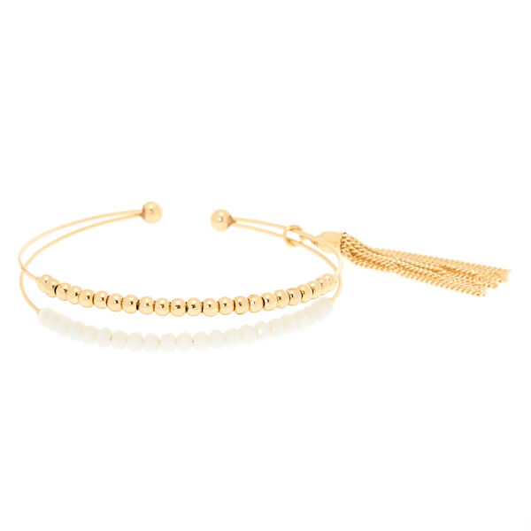 Claire's - gold beaded cuff bracelet - 1