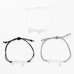 Silver Forever Adjustable  Friendship Bracelets - 3 Pack,