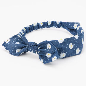 Denim Daisy Knotted Bow Headwrap - Blue,