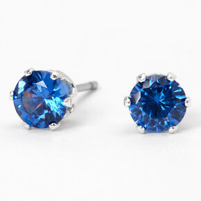 Silver Cubic Zirconia Round Stud Earrings - Blue, 5MM,