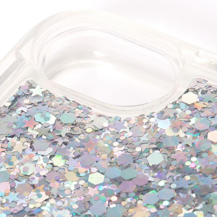 Smile Silver Glitter Liquid Fill Phone Case - Fits iPhone 6/7/8/SE,