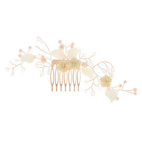 Rose Gold Large Floral Branch Hair Comb,