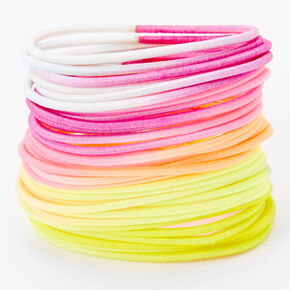Luxe Elastic Hair Ties - Neon Brights, 30 Pack,