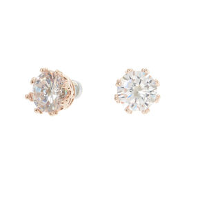 Rose Gold Cubic Zirconia Round Magnetic Stud Earrings - 8MM,