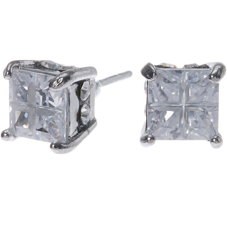 Silver Cubic Zirconia 6mm Square Stud Earrings