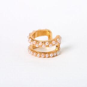 Manchette d'oreille double rangée perles d'imitation couleur dorée,