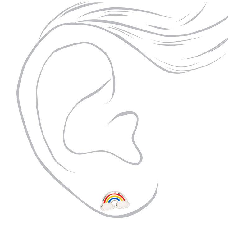 Sterling Silver Rainbow Daisy Stud Earrings - 2 Pack,