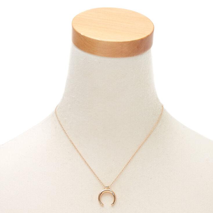 Gold Horn Pendant Necklace,