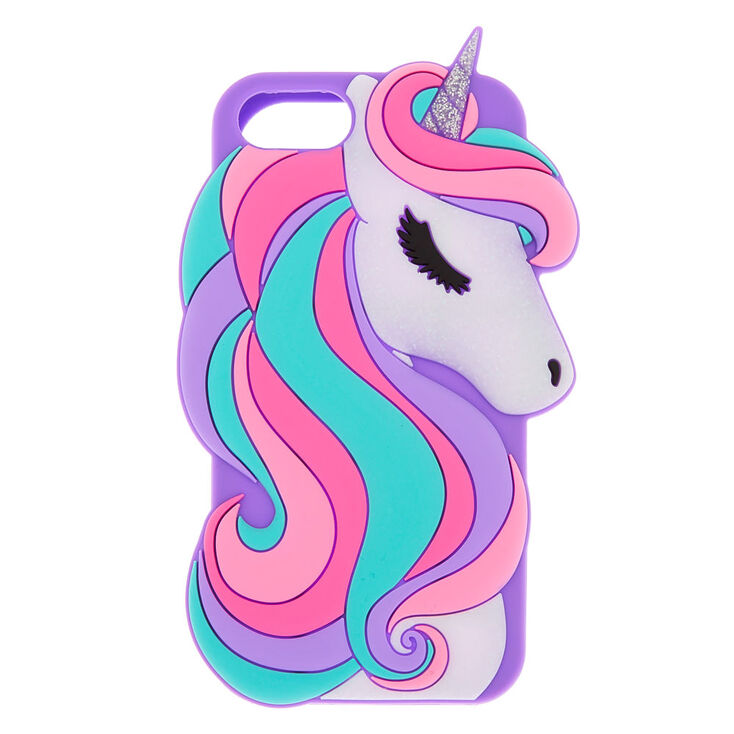 Glitter Unicorn Silicone Phone Case - Fits iPhone 6/7/8/SE,