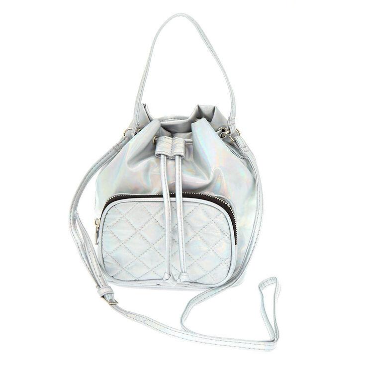 92e242f948d Holographic Mini Bucket Crossbody Bag - Silver | Claire's
