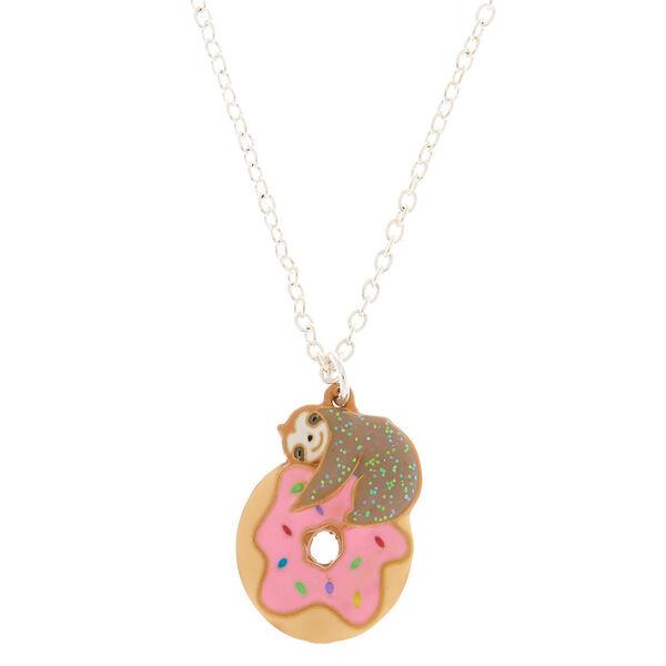 Claire's - glitter doughnut & sloth pendant necklace - 1
