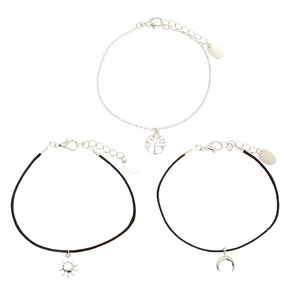 Silver Symbolic Chain Bracelets - Black, 3 Pack,