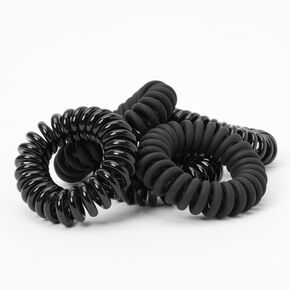 Matte Shiny Spiral Hair Ties - Black, 5 Pack,