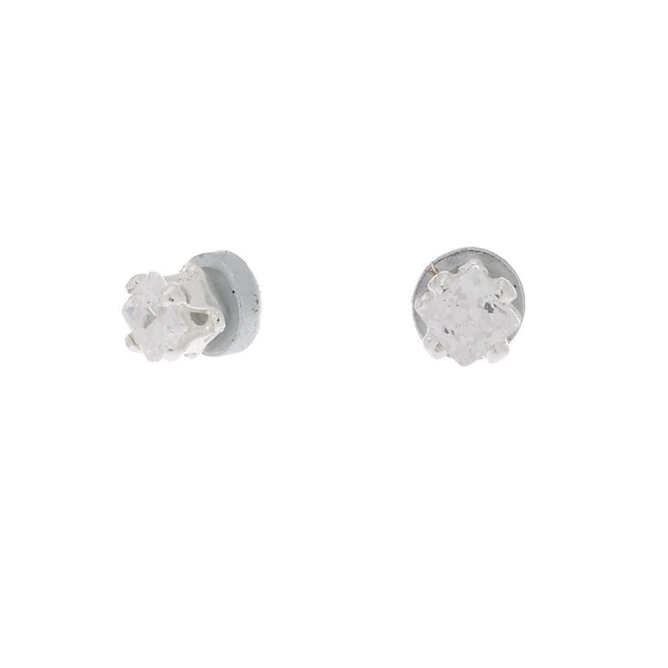 Silver Cubic Zirconia Square Magnetic Stud Earrings - 2MM,