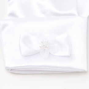 Satin Gloves with Bow - White,
