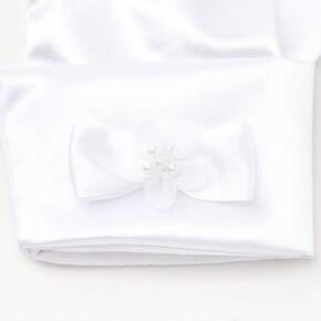 Gants satinés avec nœud - Blanc,