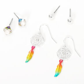Silver Rainbow Dreamcatcher Mixed Earrings - 3 Pack,