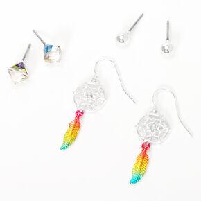 Boucles d'oreilles diverses attrape-rêves arc-en-ciel couleur argentée - Lot de 3,