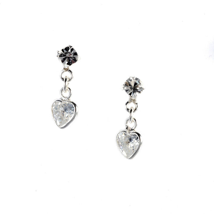 Sterling Silver Heart Drop Stud Earrings,