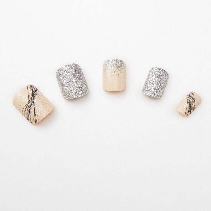 Spider Gel Glitter Square Faux Nail Set - Nude, 24 Pack,