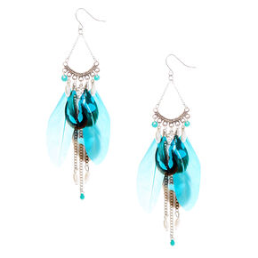 "Silver 4"" Beaded Feather Drop Earrings - Turquoise,"