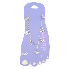 Silver Cosmos Charm Anklet,