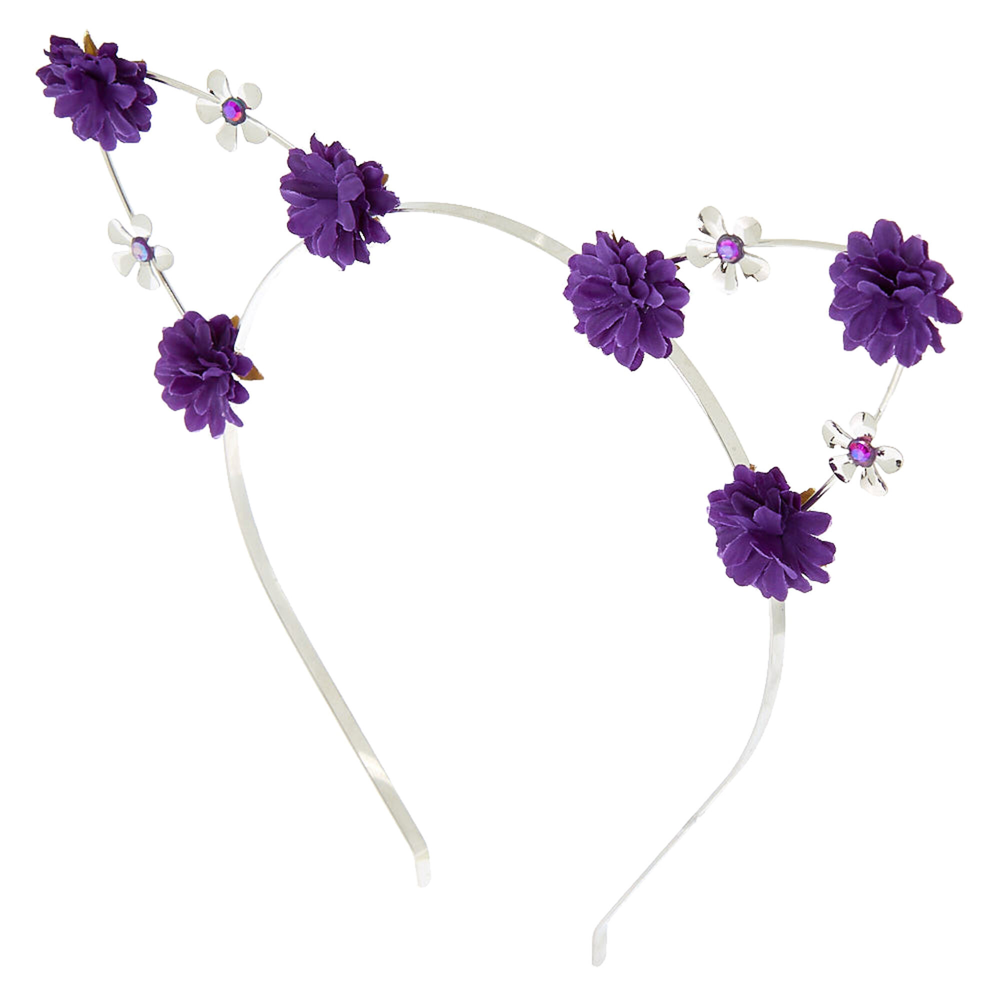 Silver Flower Girl Cat Ears Headband - Purple  1992d1eef79