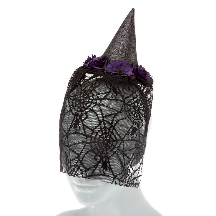 Veil Witch Hat Headband - Black,