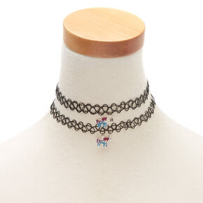 Best Friends Embellished Unicorn Tattoo Choker Necklaces - 2 Pack,