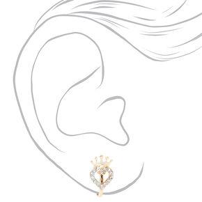 Clous d'oreilles à clip couronne cœur strass couleur dorée,