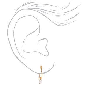 18kt Gold Plated Heart Pearl Stud & Hoop Earrings - 2 Pack,