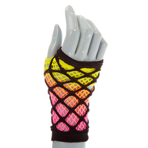 Ombre Sunset Layered Fishnet Gloves,