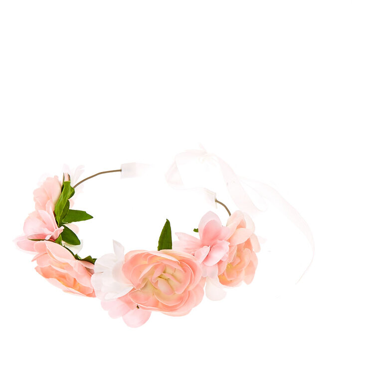 Kids pink ombre fabric flowers crown with white ribbon closure kids pink ombre fabric flowers crown with white ribbon closure mightylinksfo