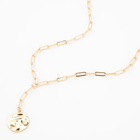 Gold Hammered Coin Pendant Chain Necklace,