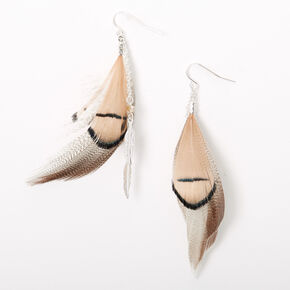 "Silver 3"" Feather Chain Drop Earrings - Brown,"