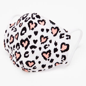 Cotton Pink Hearts Leopard Print Face Mask - Child Small,