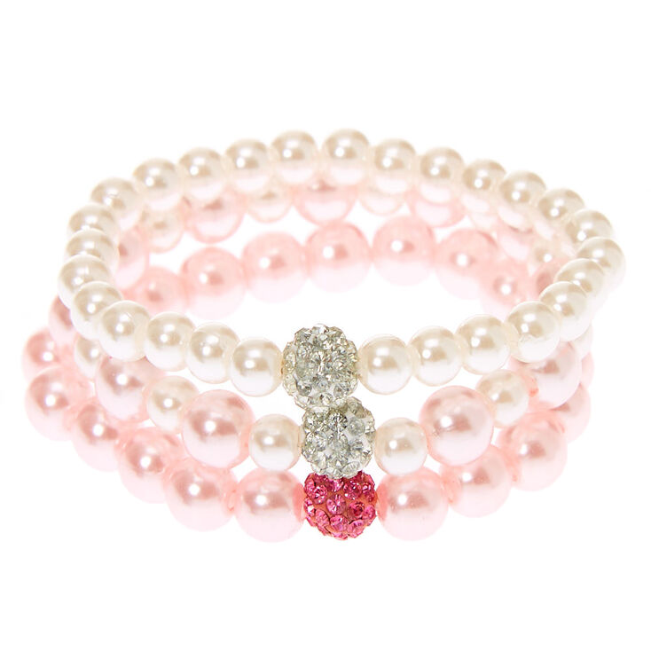 Claire's Club Pearl Stretch Bracelets - 3 Pack,