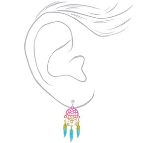 "1.5"" Rainbow Dreamcatcher Clip On Earrings,"