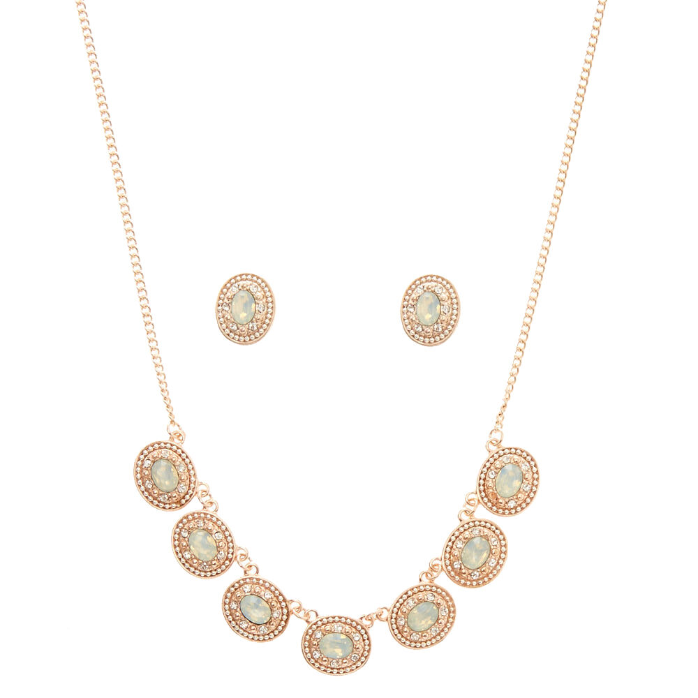 Oval Mint Stone Rose Gold Jewelry Set Claires US