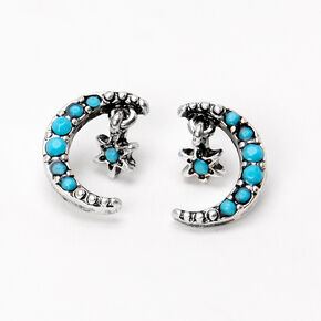 Silver Beaded Crescent Moon Star Stud Earrings - Turquoise,