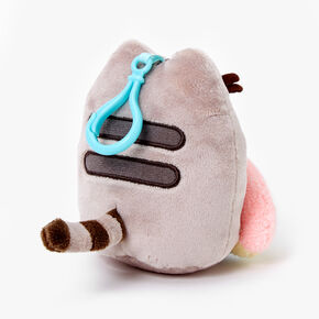 Pusheen® Rainbow Plush Keyring Clip - Grey,