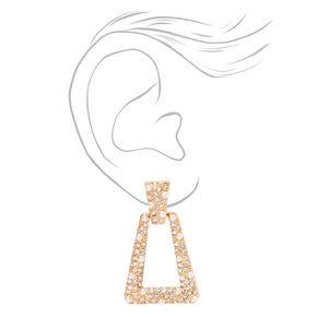 "Gold 1.5"" Crystal Pearl Door Knocker Clip On Drop Earrings,"