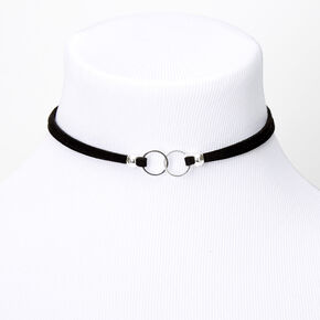 Double Circle Ring Choker Necklace - Black,