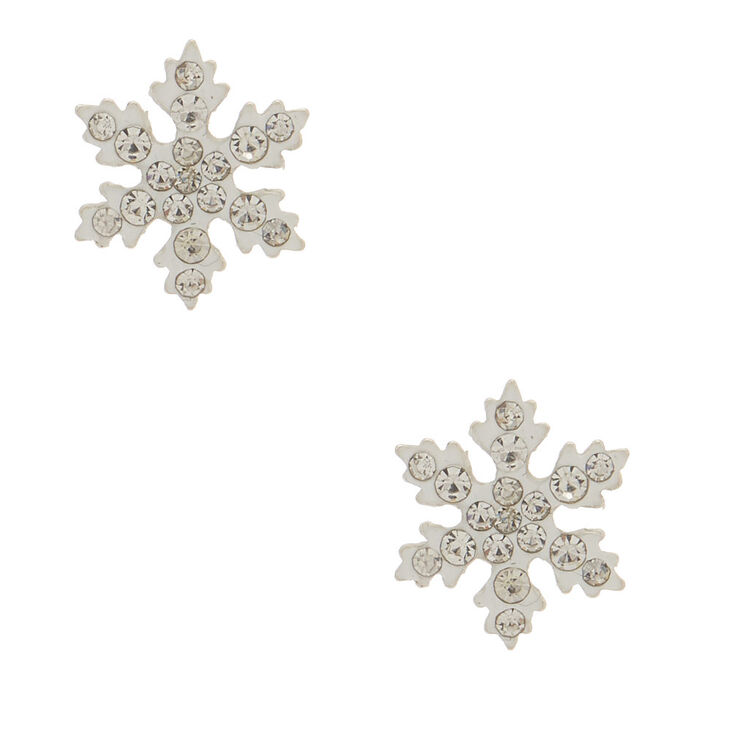Sterling Silver Snowflake Stud Earrings White