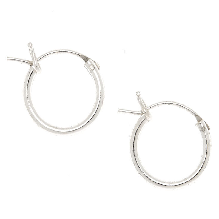 Sterling Silver 10MM Hinge Hoop Earrings,