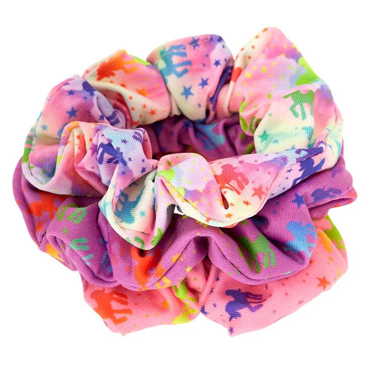 Small Rainbow Unicorn Stars Hair Scrunchies - 3 Pack,